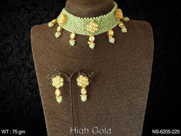 Traditional mala type patti drop paan antique necklace