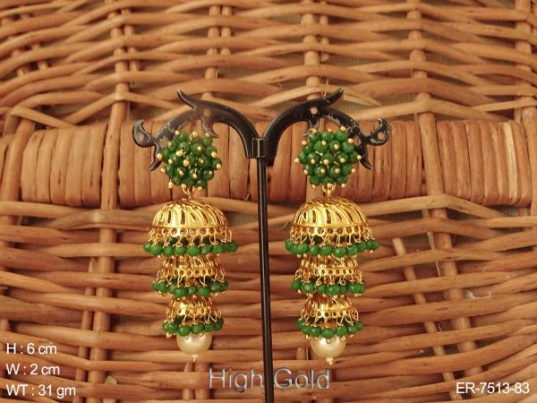 Coloring moti triple jhumka antique earring