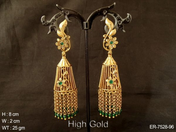 Flower high golden pearl antique jhumka