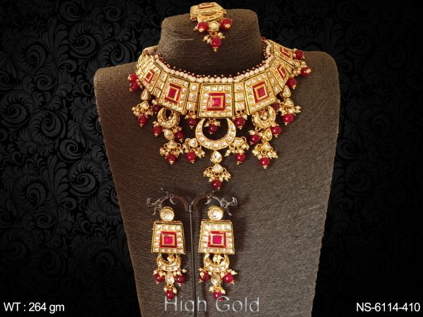Clustered pearl rectangle kundan type antique necklace