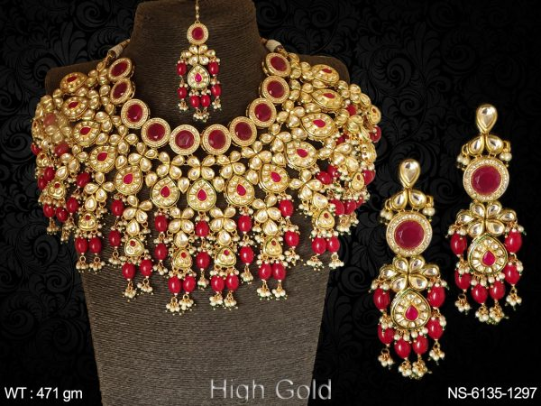 Beads design dulhan wear kundan heavy bollywood necklace