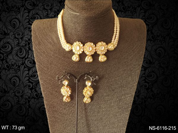 Traditional ruby pearl kundan necklace