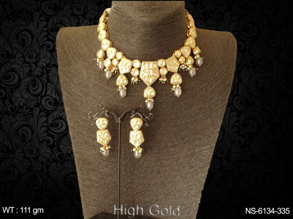 Kundan beads heavy ruby green drop necklace set