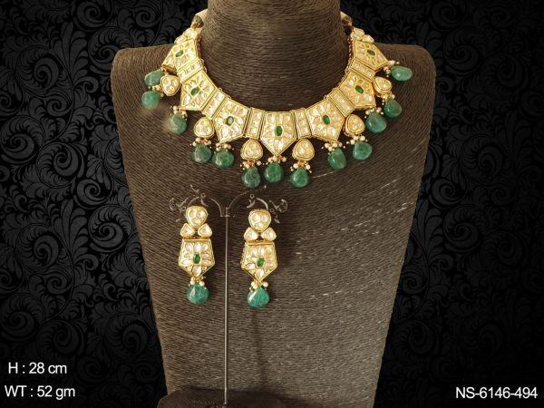 Kundan trangle beads ruby green necklace