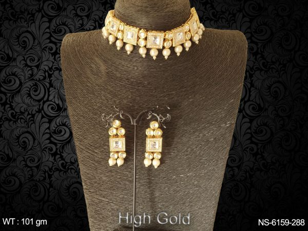 Square beads drop full stone chokar kundan necklace