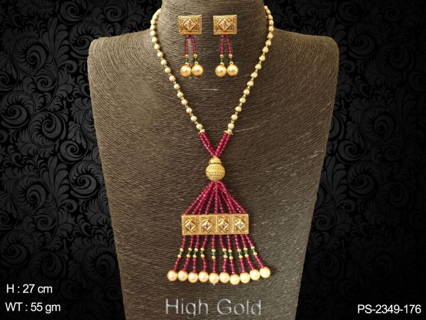Square traditional ruby green antique design pendant set