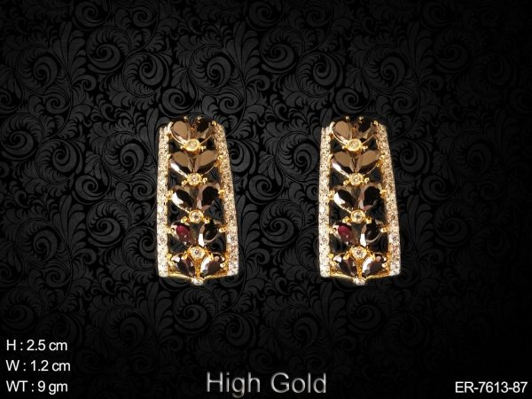CZ AD high gold coloring paan daimond bali earring