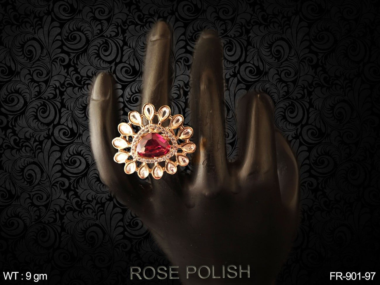 Colouring crystal stone paan daimond Ad finger ring