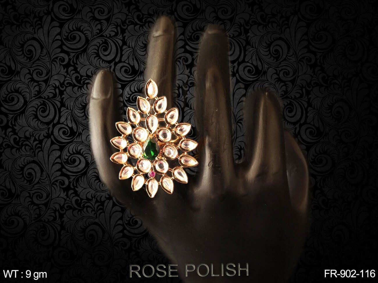 Full paan daimond heavy ad finger ring
