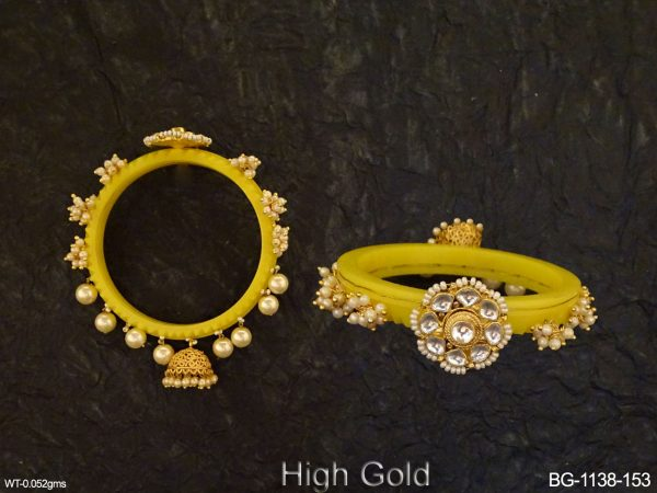 Jhumki Style Flower Stone Antique Bangles