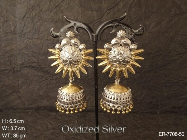 Two tone oxcid silver fancy jhumka antique earring