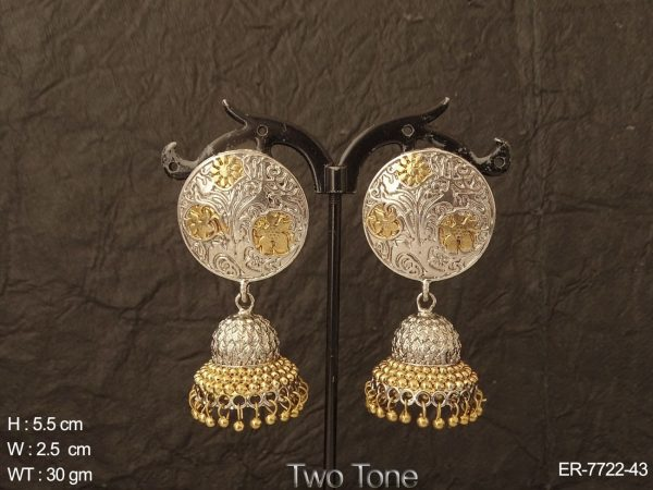 Gracefully crafted two tone antique jhumka