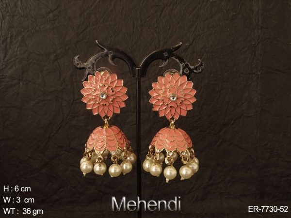 Full meenakari crafted antique jhumka