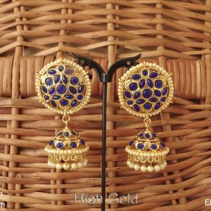 Delicate full stone coloring antique jhumka earring