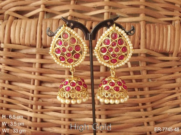 South multiple color stone delicate pearl boarder kemp jhumka