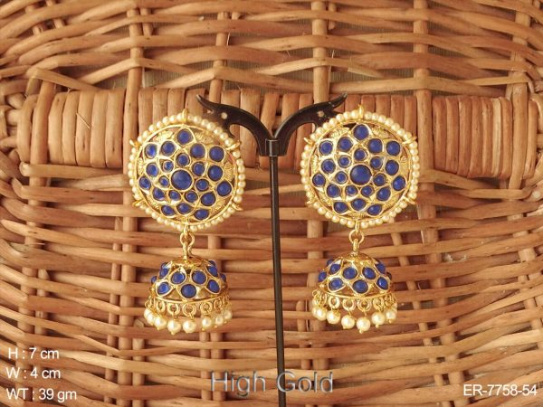 South delicate full stone kemp jhumka earring