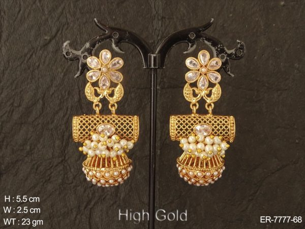 Fancy flower design clustered pearl antique earring