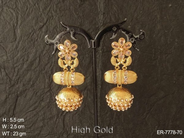 Fancy flower design clustered pearl Peacock antique earring