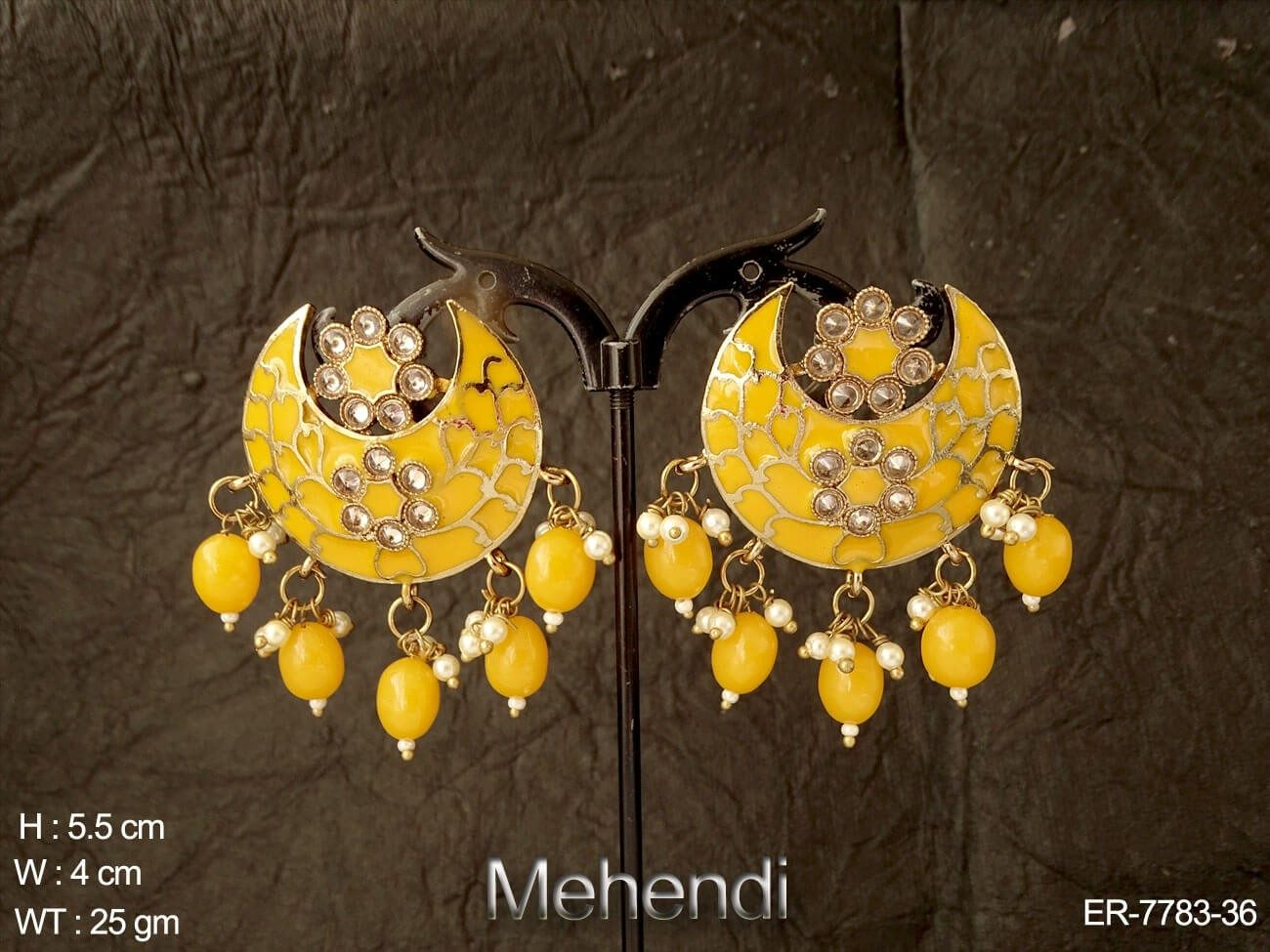 Full meena kari beads drops antique earring