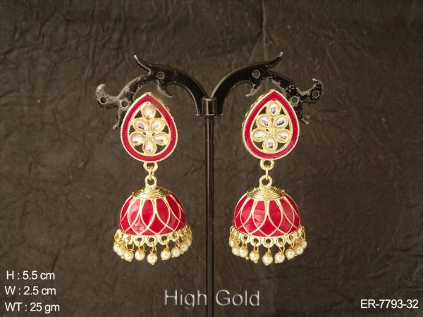 Delicate paan shape meena kari antique earring