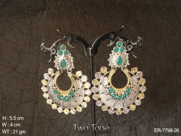 Gold two tone hoop chand style antique earring