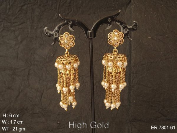 Jhumar jhumka high gold chain design antique earring