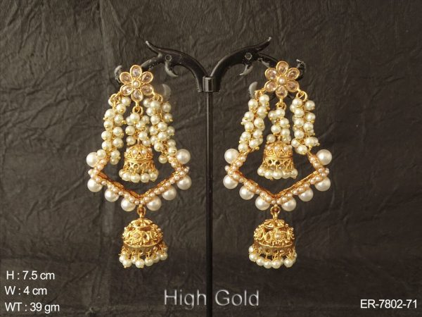 Clustered pearl design antique jhumka