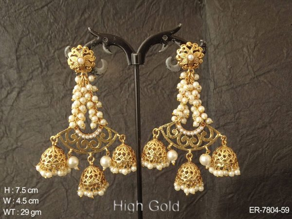 Clustered pearl high gold delicate antique earring