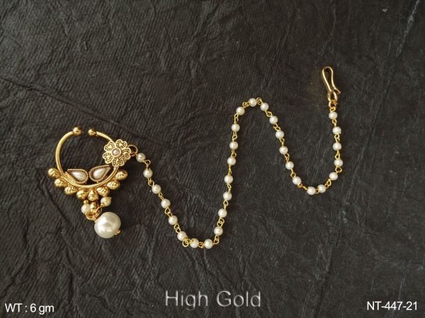 pearl paan bollywood type antique nath