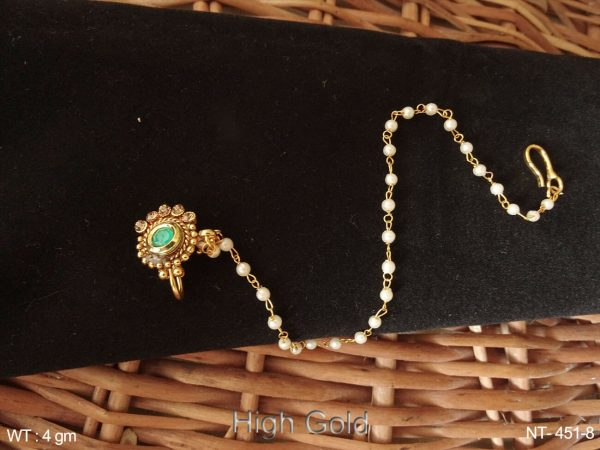 Delicate Lct stone ruby green pearl chain antique nath