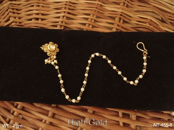 One kundan delicate antique nath