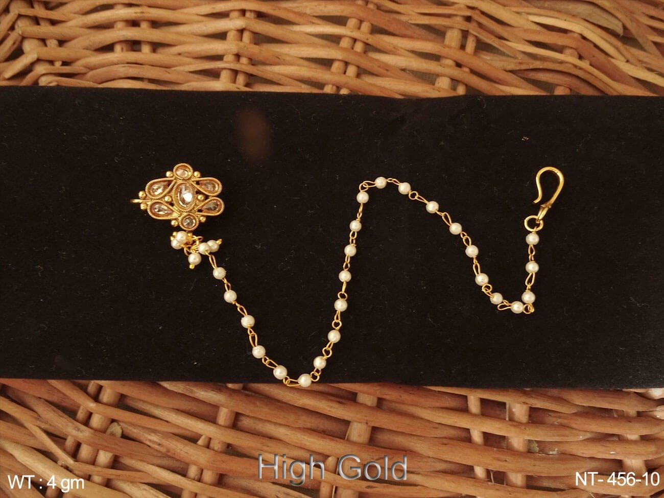 Lct paan delicate pearl chain antique nath