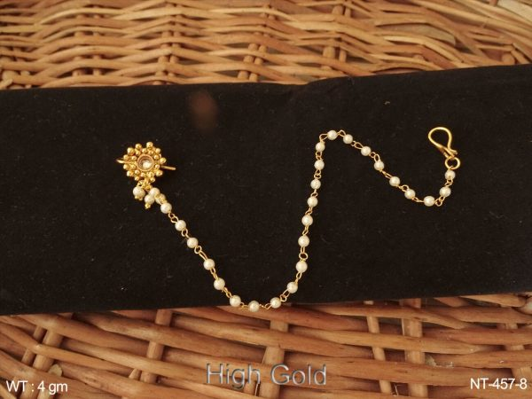 One stone delicate pearl chain antique nath