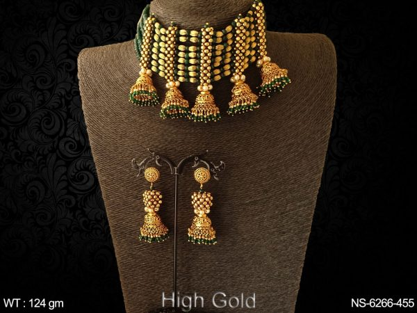 Traditional ruby green jhumka design antique choker necklace set