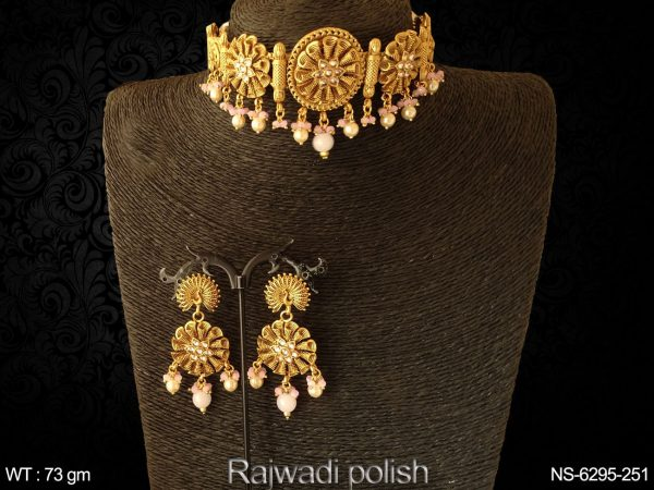 Flower weel design rajwadi chokar antique necklace set
