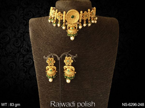 Flower jhumka design rajwadi chokar antique necklace set