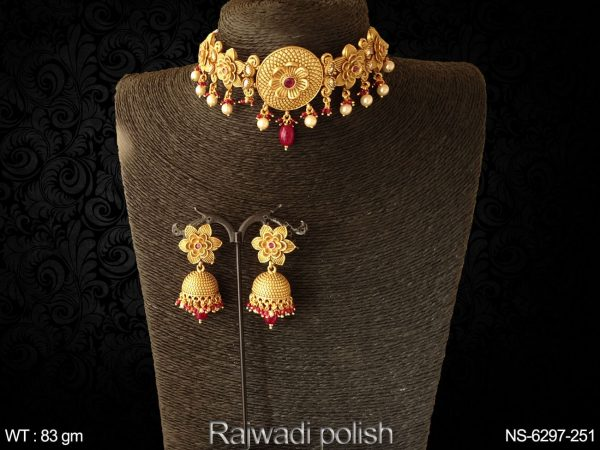 Flower fancy design rajwadi chokar antique necklace set