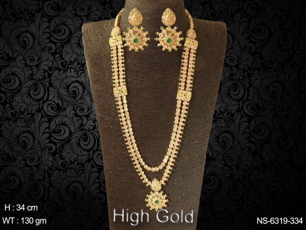 Full stone traditional bollywood style long polki necklace