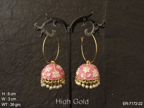 Bali Shape Jhumki Lotus Textured Earrings