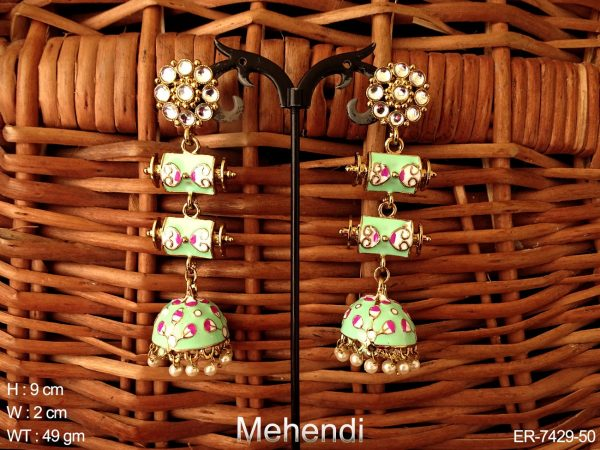 Meena tall jhumka earring