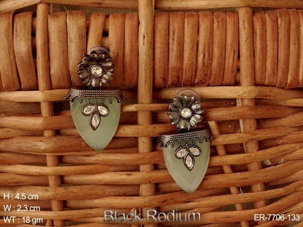 Black rodium flower Fusion Earring