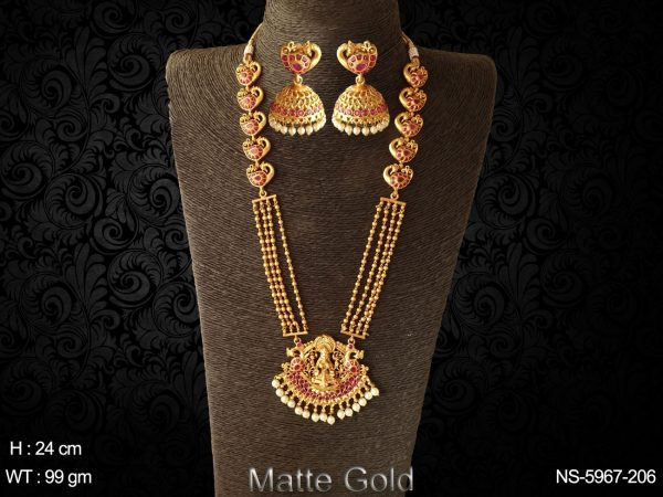 Lot of peacock design laxmi mata long necklace