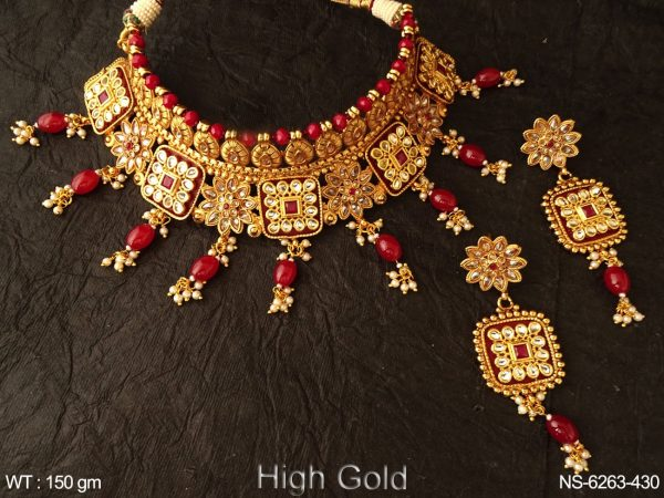 Bollywood ruby green beads heavy antique necklace set