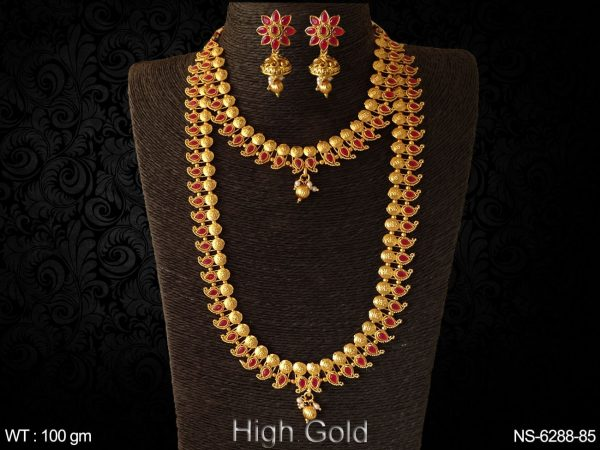 Koyari design ruby green ppan combo antique necklace set