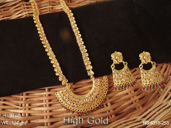 Long lct paan stone ruby green drop polki necklace set