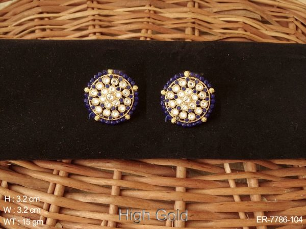 Full stone moti boader antique tops earring