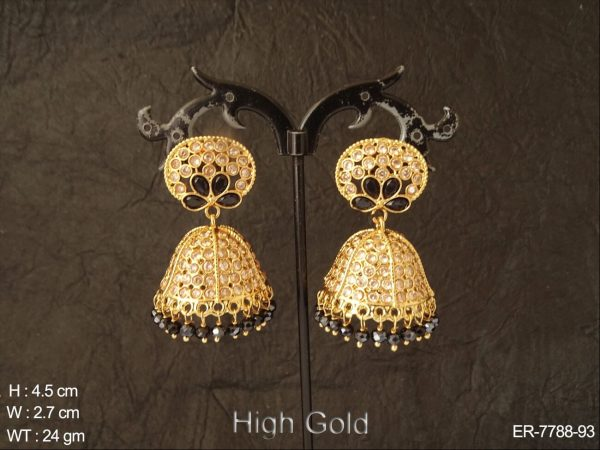 Full Lct stone colouring beads drops heavy polki jhumka earring