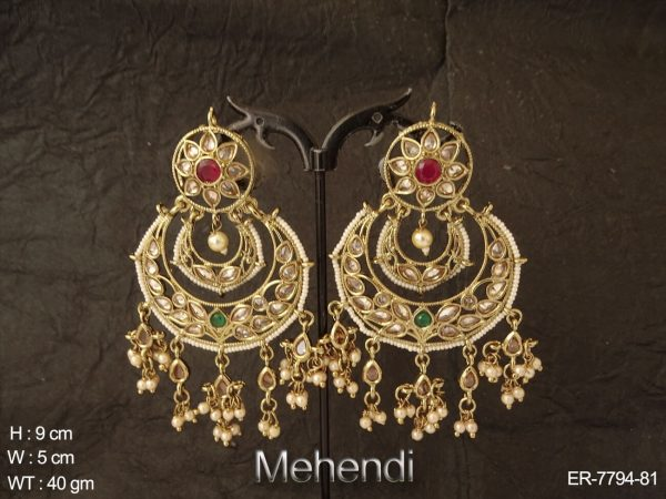 Clustered pearl chand bali polki earring