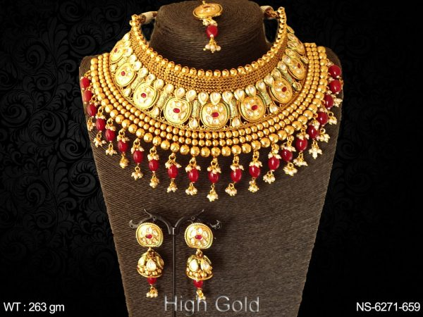 Bollywood beads kundan stone chokar antique necklace set