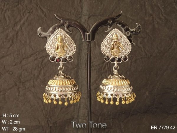 Golden oxid silver Temple jhumka earring
